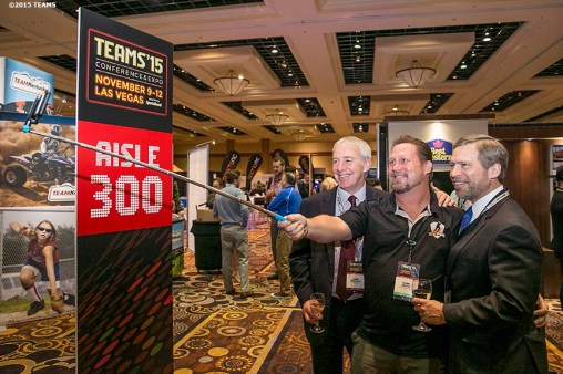 """Registrants take a selfie at the Expo Happy Hour during the TEAMS Conference & Expo at Mandalay Bay Convention Center in Las Vegas, Nevada Monday, November 5, 2015."""