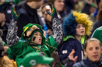 """Fans cheer during the Shamrock Series Football at Fenway game between Notre Dame and Boston College at Fenway Park in Boston, Massachusetts Saturday, November 21, 2015."""
