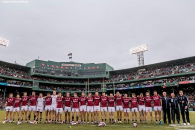 """The Galway team looks on as the National Anthem is played during the AIG Hurling Classic and Irish Festival game against Dublin at Fenway Park in Boston, Massachusetts Saturday, November 22, 2015."""