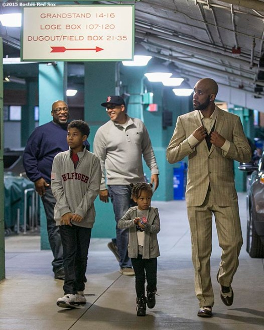 """Pitcher David Price walks through the concourse before a press conference after agreeing to a seven year contract with the Boston Red Sox at Fenway Park in Boston, Massachusetts Friday, December 4, 2015."""
