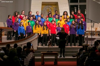 """""""A children's choir performs during Qabbalat Shabbat services at Temple Israel in Boston, Massachusetts Friday, January 15, 2016."""""""