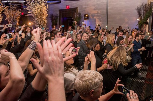 """Guests enjoy a performance by The Dropkick Murphys during the Hotel Commonwealth Sparkle & Glow grand opening party at Hotel Commonwealth in Boston, Massachusetts Thursday, January 21, 2016."""