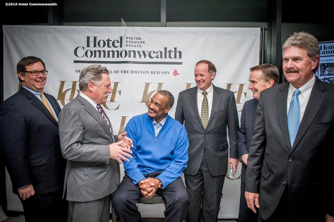 """Former Boston Red Sox left fielder Jim Rice greets guests during the Hotel Commonwealth Sparkle & Glow grand opening party at Hotel Commonwealth in Boston, Massachusetts Thursday, January 21, 2016."""