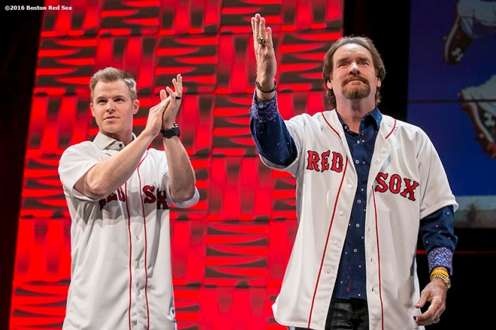 """""""Former Boston Red Sox third baseman Wade Boggs is presented with a jersey from current third baseman Brock Holt, which will be retired this year, at the NESN Town Hall during the 2016 Winter Weekend at Foxwoods Resort & Casino in Ledyard, Connecticut Friday, January 22, 2016."""""""
