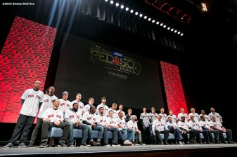 """""""The 2016 Boston Red Sox are introduced at the NESN Town Hall during the 2016 Winter Weekend at Foxwoods Resort & Casino in Ledyard, Connecticut Friday, January 22, 2016."""""""
