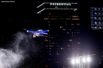 """A skier jumps off the ramp during the Polartec Big Air at Fenway ski and snowboard competition at Fenway Park in Boston, Massachusetts Friday, February 12, 2016."""