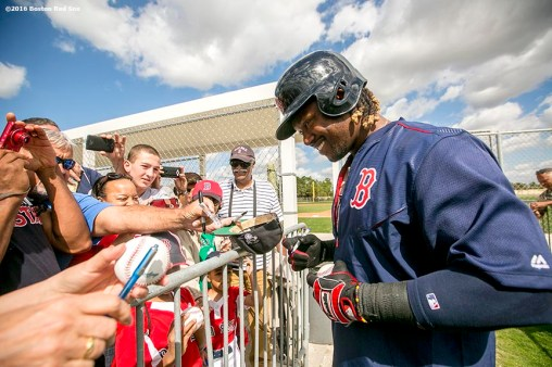 FT. MYERS, FL - FEBRUARY 26: Hanley Ramirez #13 of the Boston Red Sox signs autographs during a team workout on February 26, 2016 at Fenway South in Fort Myers, Florida . (Photo by Billie Weiss/Boston Red Sox/Getty Images) *** Local Caption *** Hanley Ramirez