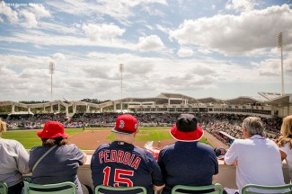 February 29, 2016, Fort Myers, FL: Fans look on during an exhibition game between the Boston Red Sox and Boston College at JetBlue Park in Fort Myers, Florida Monday, February 29, 2016. (Photos by Billie Weiss/Boston Red Sox)