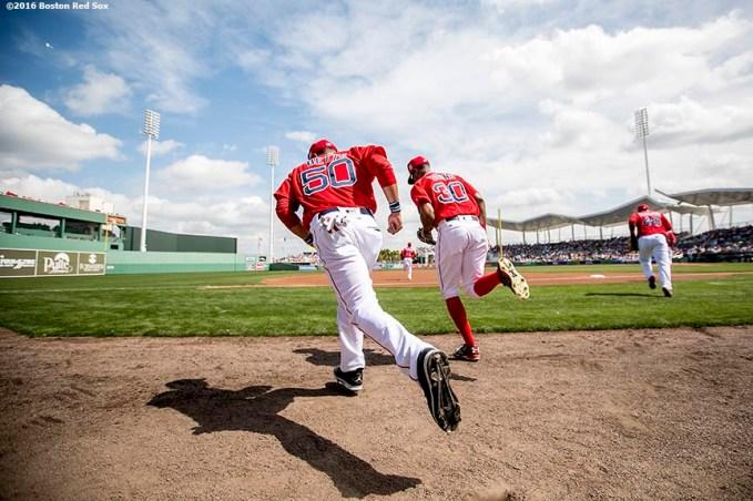 FT. MYERS, FL - MARCH 4: Mookie Betts #50 of the Boston Red Sox takes the field during a Grapefruit League game against the Tampa Bay Rays on March 4, 2016 at JetBlue Park at Fenway South in Fort Myers, Florida . (Photo by Billie Weiss/Boston Red Sox/Getty Images) *** Local Caption *** Mookie Betts