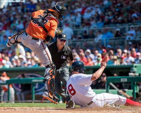 FT. MYERS, FL - MARCH 6: David Murphy #18 of the Boston Red Sox scores during a Grapefruit League game against the Baltimore Orioles on March 6, 2016 at JetBlue Park at Fenway South in Fort Myers, Florida . (Photo by Billie Weiss/Boston Red Sox/Getty Images) *** Local Caption *** David Murphy