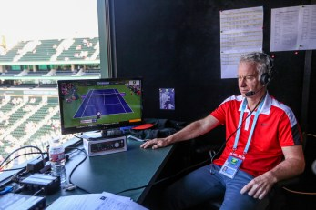 """""""John McEnroe joins the BBC Radio booth during the 2016 BNP Paribas Open at the Indian Wells Tennis Garden in Indian Wells, California Saturday, March 12, 2016."""""""