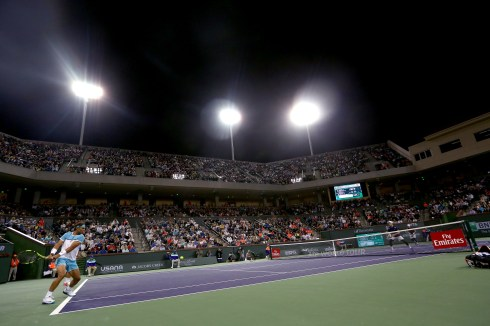 """""""Stadium two is shown during a doubles match between Bob and Mike Bryan and Frenando Verdasco and Rafael Nadal during the 2016 BNP Paribas Open at the Indian Wells Tennis Garden in Indian Wells, California Saturday, March 12, 2016."""""""