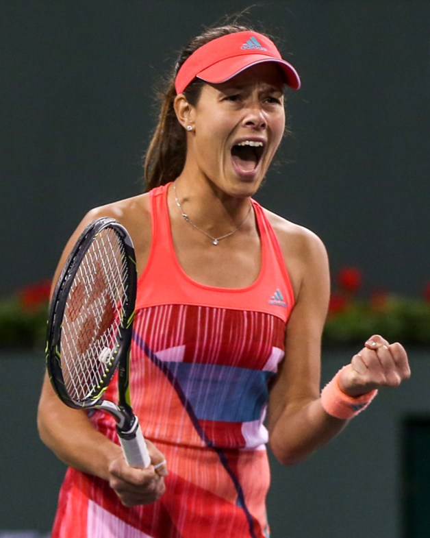 """""""Ana Ivanovic reacts after defeating Camila Giorgi during the 2016 BNP Paribas Open at the Indian Wells Tennis Garden in Indian Wells, California Saturday, March 12, 2016."""""""