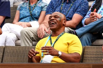 """Former boxer Mike Tyson reacts during a match between Serena Williams and Yulia Putintseva during the 2016 BNP Paribas Open at the Indian Wells Tennis Garden in Indian Wells, California Sunday, March 13, 2016."""