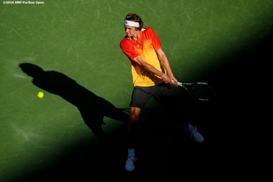 """Alexander Zverev in action against Rafael Nadal during the 2016 BNP Paribas Open at the Indian Wells Tennis Garden in Indian Wells, California Wednesday, March 16, 2016."""