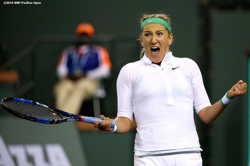 March 18, 2016, Palm Springs, CA: Victoria Azarenka reacts after winning the women's semi-final match against Karolina Pliskova during the 2016 BNP Paribas Open at the Indian Wells Tennis Garden in Indian Wells, California Friday, March 18, 2016. (Photos by Billie Weiss/BNP Paribas Open)