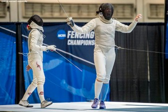 """Competition is held during the 2016 NCAA Fencing Championships at Brandeis University in Waltham, Massachusetts Friday, March 25, 2016."""