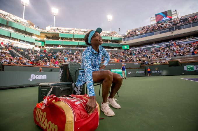 """""""Venus Williams returns for the first time in 15 years to play Kurumi Nara at the Indian Wells Tennis Garden in Indian Wells, California Friday, March 11, 2016."""""""