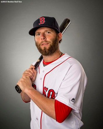 FT. MYERS, FL - FEBRUARY 28: Dustin Pedroia #15 of the Boston Red Sox poses for a portrait during team photo day on February 28, 2016 at Fenway South in Fort Myers, Florida . (Photo by Billie Weiss/Boston Red Sox/Getty Images) *** Local Caption ***
