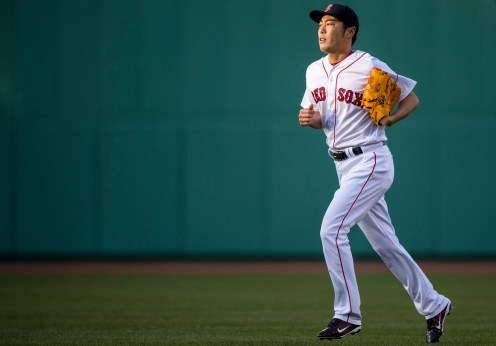 BOSTON, MA - APRIL 16: Koji Uehara #19 of the Boston Red Sox enters the game during the eighth inning of a game against the Toronto Blue Jays on April 16, 2016 at Fenway Park in Boston, Massachusetts . (Photo by Billie Weiss/Boston Red Sox/Getty Images) *** Local Caption *** Koji Uehara