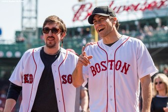BOSTON, MA - APRIL 18: Boston Marathon bombing survivor Jeff Bauman and actor Jake Gyllenhaal arrive on the field before throwing out a ceremonial first pitch together before a game between the Boston Red Sox and the Toronto Blue Jays on April 18, 2016 at Fenway Park in Boston, Massachusetts . (Photo by Billie Weiss/Boston Red Sox/Getty Images) *** Local Caption *** Jake Gyllenhall; Jeff Bauman
