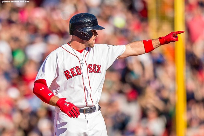 BOSTON, MA - APRIL 21: Travis Shaw #47 of the Boston Red Sox reacts after hitting an RBI double during the seventh inning of a game against the Tampa Bay Rays on April 21, 2016 at Fenway Park in Boston, Massachusetts . (Photo by Billie Weiss/Boston Red Sox/Getty Images) *** Local Caption *** Travis Shaw