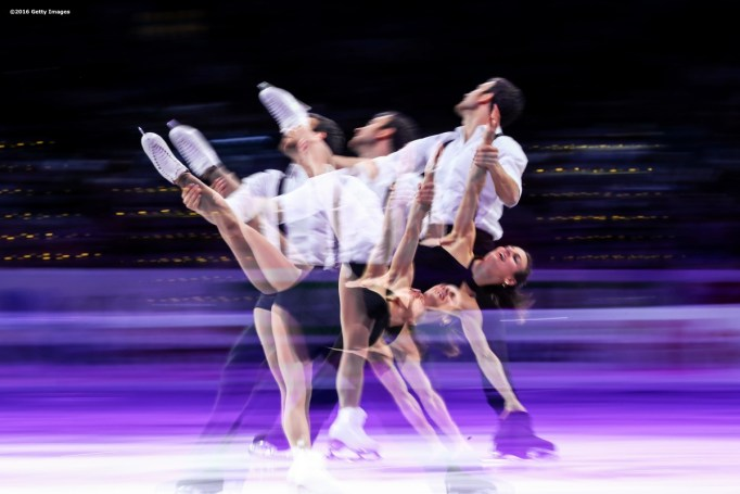 BOSTON, MA - APRIL 3: (Editor's note: This images was created using in camera multiple exposure) Meagan Duhamel and Eric Radford of Canada perform during the exhibition of champions during Day 7 of the ISU World Figure Skating Championships 2016 at TD Garden on April 3, 2016 in Boston, Massachusetts. (Photo by Billie Weiss - ISU/ISU via Getty Images) *** Local Caption *** Meagan Duhamel; Eric Radford