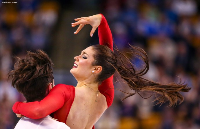 BOSTON, MA - MARCH 31: Laurence Fournier Beaudry and Nikolaj Sorensen of Denmark compete during Day 4 of the ISU World Figure Skating Championships 2016 at TD Garden on March 31, 2016 in Boston, Massachusetts. (Photo by Billie Weiss - ISU/ISU via Getty Images) *** Local Caption *** Laurence Fournier Beaudry; Nikolaj Sorensen