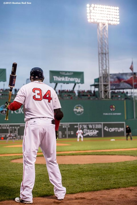 BOSTON, MA - APRIL 28: David Ortiz #34 of the Boston Red Sox waits on deck during the first inning of a game against the Atlanta Braves on April 28, 2016 at Fenway Park in Boston, Massachusetts . (Photo by Billie Weiss/Boston Red Sox/Getty Images) *** Local Caption *** David Ortiz