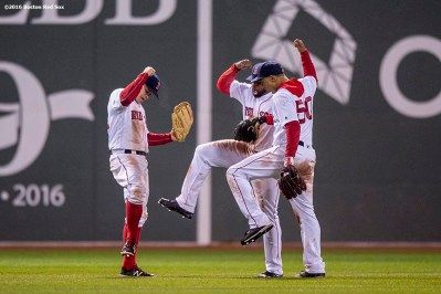 BOSTON, MA - MAY 1: Brock Holt #12, Jackie Bradley Jr. #25, and Mookie Betts #50 of the Boston Red Sox celebrate a victory against the New York Yankees on May 1, 2016 at Fenway Park in Boston, Massachusetts. (Photo by Billie Weiss/Boston Red Sox/Getty Images) *** Local Caption *** Brock Holt; Jackie Bradley Jr.; Mookie Betts