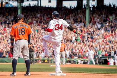 BOSTON, MA - MAY 14: David Ortiz #34 of the Boston Red Sox reacts after hitting a game tying RBI triple during the ninth inning of a game against the Houston Astros on May 14, 2016 at Fenway Park in Boston, Massachusetts. (Photo by Billie Weiss/Boston Red Sox/Getty Images) *** Local Caption *** David Ortiz