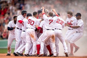 BOSTON, MA - MAY 14: David Ortiz #34 of the Boston Red Sox is mobbed by teammates after hitting a game winning walk-off single during the eleventh inning of a game against the Houston Astros on May 14, 2016 at Fenway Park in Boston, Massachusetts. (Photo by Billie Weiss/Boston Red Sox/Getty Images) *** Local Caption *** David Ortiz