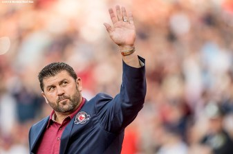 BOSTON, MA - MAY 20: Former Boston Red Sox catcher Jason Varitek is introduced during a Red Sox Hall of Fame Class of 2016 ceremony before a game between the Boston Red Sox and the Cleveland Indians on May 20, 2016 at Fenway Park in Boston, Massachusetts. (Photo by Billie Weiss/Boston Red Sox/Getty Images) *** Local Caption *** Jason Varitek