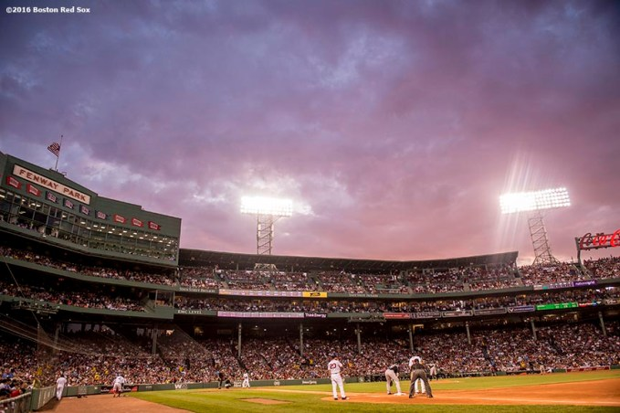 BOSTON, MA - MAY 25: The sun sets during a game between the Boston Red Sox and the Colorado Rockies on May 25, 2016 at Fenway Park in Boston, Massachusetts. (Photo by Billie Weiss/Boston Red Sox/Getty Images) *** Local Caption ***