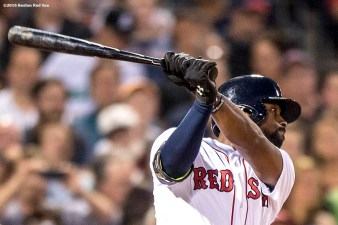 BOSTON, MA - MAY 25: Jackie Bradley Jr. #5 of the Boston Red Sox hits a single during the fourth inning of a game against the Colorado Rockies on May 25, 2016 at Fenway Park in Boston, Massachusetts, extended his hitting streak to 29 straight games. (Photo by Billie Weiss/Boston Red Sox/Getty Images) *** Local Caption *** Jackie Bradley Jr.