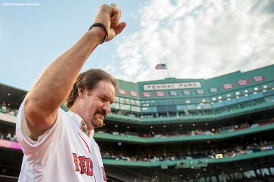 BOSTON, MA - MAY 25: Former Boston Red Sox player Wade Boggs is introduced during a 1986 20-year team reunion before a game between the Boston Red Sox and the Colorado Rockies on May 25, 2016 at Fenway Park in Boston, Massachusetts. (Photo by Billie Weiss/Boston Red Sox/Getty Images) *** Local Caption *** Wade Boggs