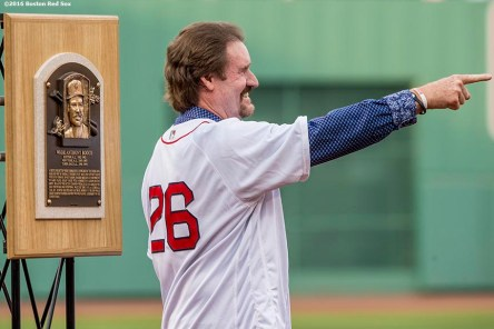 BOSTON, MA - MAY 26: Former Boston Red Sox third baseman Wade Boggs gestures alongside his Hall of Fame plaque as his number is retired during a special ceremony before a game between the Boston Red Sox and the Colorado Rockies on May 26, 2016 at Fenway Park in Boston, Massachusetts. (Photo by Billie Weiss/Boston Red Sox/Getty Images) *** Local Caption *** Wade Boggs