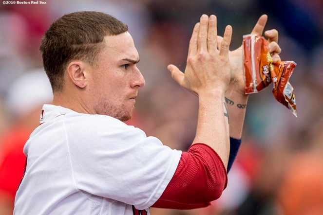 BOSTON, MA - JUNE 5: Christian Vazquez #7 of the Boston Red Sox reacts in the dugout during the ninth inning of a game against the Toronto Blue Jays on June 5, 2016 at Fenway Park in Boston, Massachusetts. (Photo by Billie Weiss/Boston Red Sox/Getty Images) *** Local Caption *** Christian Vazquez