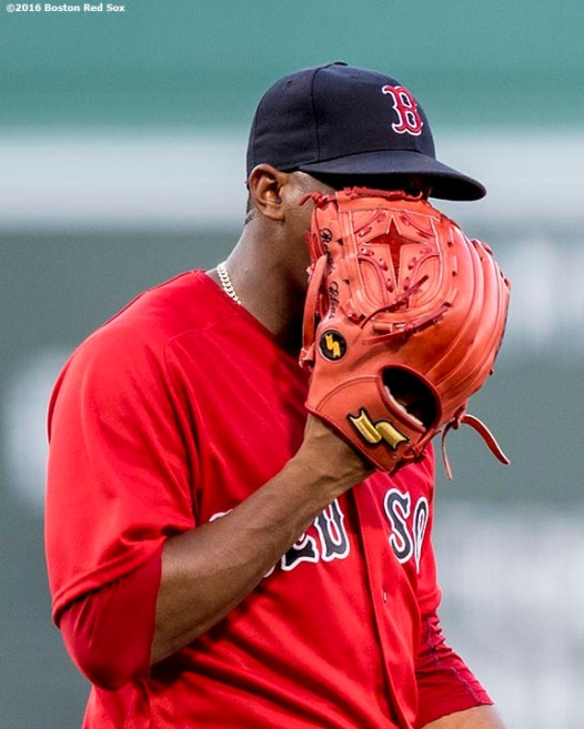 BOSTON, MA - JUNE 17: Roenis Elias #29 of the Boston Red Sox reacts during the first inning of his Boston Red Sox debut against the Seattle Mariners on June 17, 2016 at Fenway Park in Boston, Massachusetts. (Photo by Billie Weiss/Boston Red Sox/Getty Images) *** Local Caption *** Roenis Elias