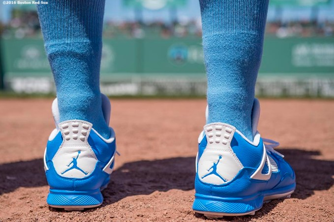 BOSTON, MA - JUNE 19: The shoes of Mookie Betts #50 of the Boston Red Sox are shown before a game against the Seattle Mariners on June19, 2016 at Fenway Park in Boston, Massachusetts. (Photo by Billie Weiss/Boston Red Sox/Getty Images) *** Local Caption *** Mookie Betts