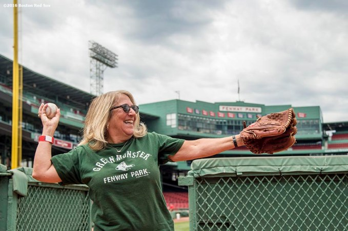 June 22, 2016, Boston, MA: A fan practices pitching during the Girls of Summer event at Fenway Park in Boston, Massachusetts Tuesday, June 22, 2016. (Photo by Billie Weiss/Boston Red Sox)