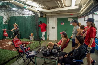 June 22, 2016, Boston, MA: A fan takes batting practice in the batting cage the Girls of Summer event at Fenway Park in Boston, Massachusetts Tuesday, June 22, 2016. (Photo by Billie Weiss/Boston Red Sox)
