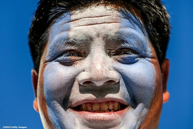 FOXBORO, MASSACHUSETTS - JUNE 18: A fan poses for a photograph during a Quarterfinal match between Argentina and Venezuela at Gillette Stadium as part of Copa America Centenario US 2016 on June 18, 2016 in Foxboro, Massachusetts, US. (Photo by Billie Weiss/LatinContent/Getty Images)