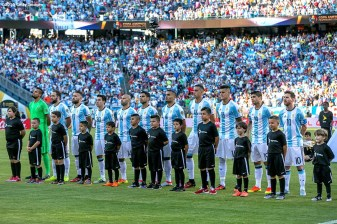FOXBORO, MASSACHUSETTS - JUNE 18: Members of Argentina are introduced during a Quarterfinal match between Argentina and Venezuela at Gillette Stadium as part of Copa America Centenario US 2016 on June 18, 2016 in Foxboro, Massachusetts, US. (Photo by Billie Weiss/LatinContent/Getty Images)
