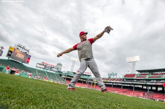 BOSTON, MA - JULY 1: Albert Pujols #5 the Los Angeles Angels of Anaheim warms up before a game against the Boston Red Sox on July1, 2016 at Fenway Park in Boston, Massachusetts. (Photo by Billie Weiss/Boston Red Sox/Getty Images) *** Local Caption *** Albert Pujols