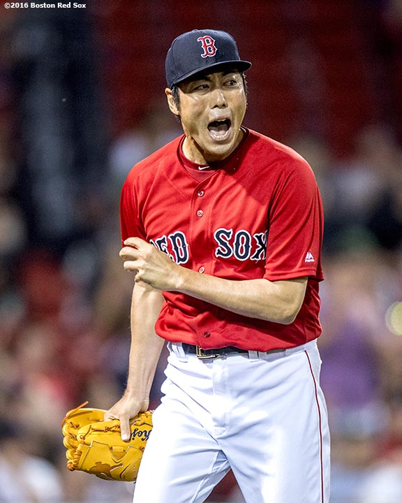 BOSTON, MA - JULY 1: Koji Uehara #19 of the Boston Red Sox reacts during the eighth inning of a game against the Los Angeles Angels of Anaheim on July1, 2016 at Fenway Park in Boston, Massachusetts. (Photo by Billie Weiss/Boston Red Sox/Getty Images) *** Local Caption *** Koji Uehara