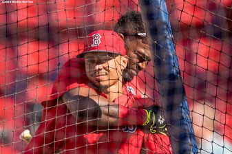 BOSTON, MA - JULY 5: Mookie Betts #50 and David Ortiz #34 of the Boston Red Sox embrace during batting practice before a game against the Texas Rangers on July 5, 2016 at Fenway Park in Boston, Massachusetts. (Photo by Billie Weiss/Boston Red Sox/Getty Images) *** Local Caption *** David Ortiz; Mookie Betts