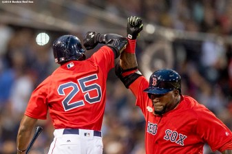 BOSTON, MA - JULY 8: David Ortiz #34 of the Boston Red Sox reacts with Jackie Bradley Jr. #25 after hitting a solo home run during the fourth inning of a game against the Tampa Bay Rays on July 8, 2016 at Fenway Park in Boston, Massachusetts. (Photo by Billie Weiss/Boston Red Sox/Getty Images) *** Local Caption *** David Ortiz; Jackie Bradley Jr.