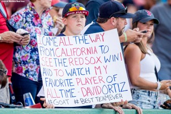 BOSTON, MA - JULY 21: A fan holds a sign before a game between the Boston Red Sox and the Minnesota Twins on July 21, 2016 at Fenway Park in Boston, Massachusetts. (Photo by Billie Weiss/Boston Red Sox/Getty Images) *** Local Caption ***