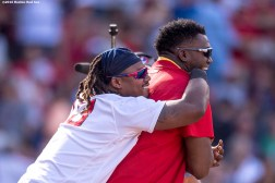 BOSTON, MA - JULY 24: Hanley Ramirez #13 and David Ortiz #34 of the Boston Red Sox celebrate a victory against the Minnesota Twins on July 24, 2016 at Fenway Park in Boston, Massachusetts. (Photo by Billie Weiss/Boston Red Sox/Getty Images) *** Local Caption *** Hanley Ramirez; David Ortiz